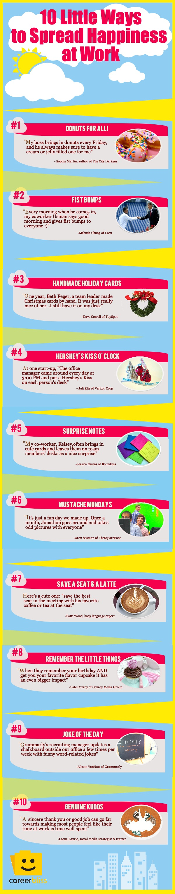 10 Little Ways to Spread Happiness at Work
