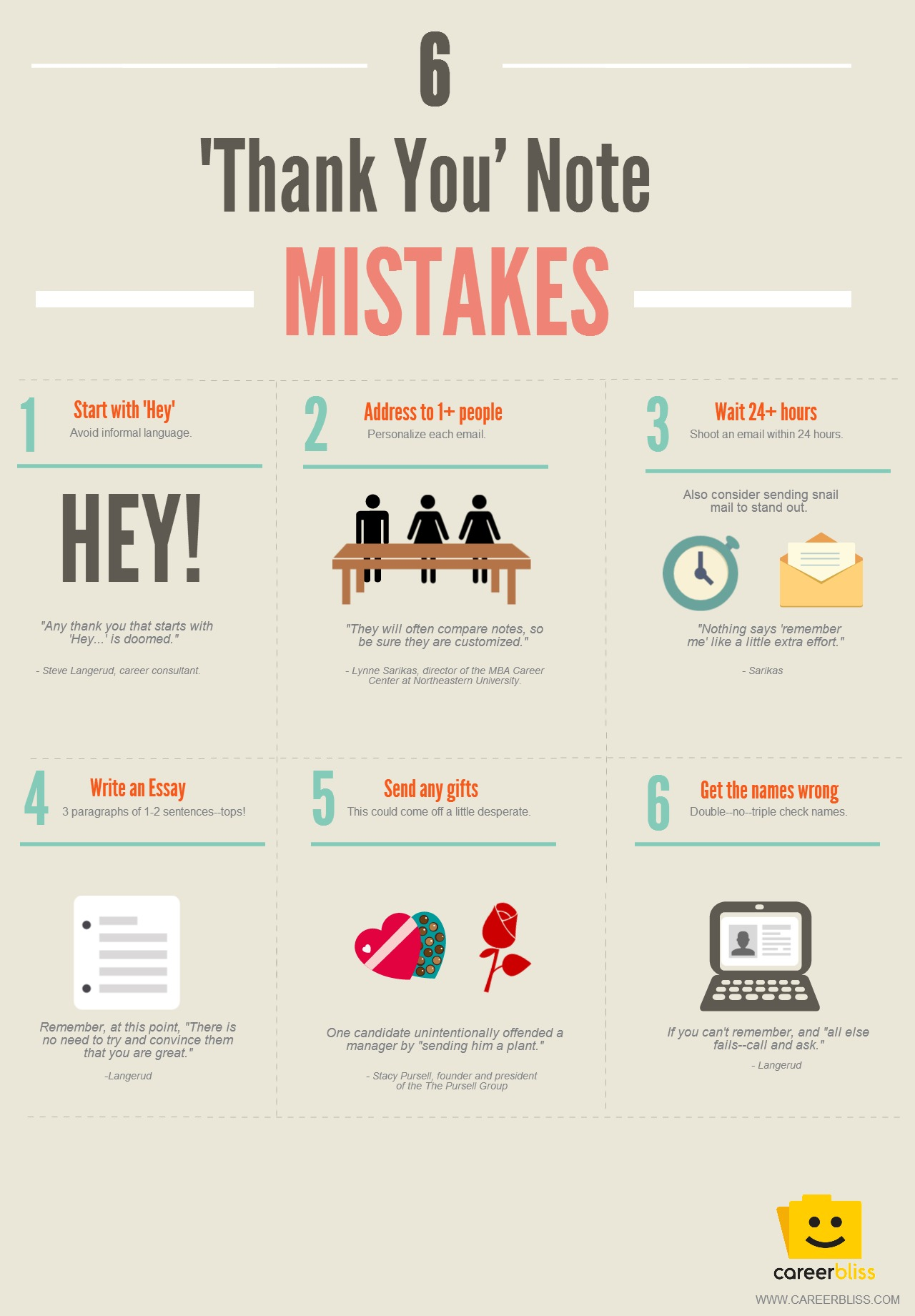 Thank You Note Mistakes Infographic  Careerbliss