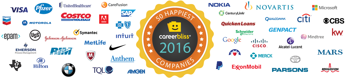 CareerBliss 50 Happiest Companies 2016